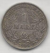 GERMANY, EMPIRE, 1909-E, ( LOW MINTAGE ), 1 MARK, SILVER, KM#14, EXTRA FINE