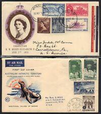 """AUSTRALIA-NEW ZEALAND-ANTARCTIC 1950 'S 4 FDC """"S 2 CORONATION OLYMPICS & ANTARC"""