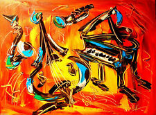 MODERN ABSTRACT MUSIC PAINO SAX Canadian   Original Oil Painting  no reserve!