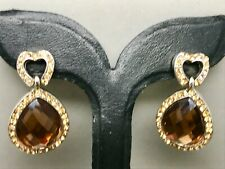 Crystal Diamante Heart and Topaz Drop Dangle Earrings