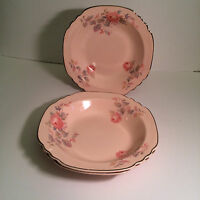 VINTAGE ROYAL CHINA USA, ROSE MARIE - 3 RIM SOUP BOWLS PINK ROSES ON SHELL PINK
