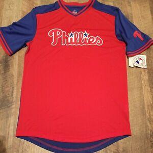 Philadelphia Phillies V-Neck Cool Base Jersey Shirt Size M Medium MLB