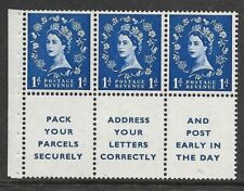 Sb29 1d Wilding booklet pane perf type Ie Bottom Unmounted Mnt/Mnh