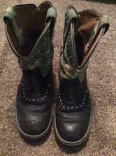 Womens Ariat FatBaby Black Leather Camo Print 6.5 B Western Cowgirl Boots 16402
