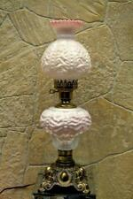 "Fenton Lamp PEACH BLOW Beaded Curtain L G WRIGHT Marble base- 21"" FREEus48SHIP"