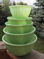 "*COMPLETE SET!* 5 Piece Vintage Fire King Jadeite Swirl Mixing Bowls w/ 5"" Bowl"