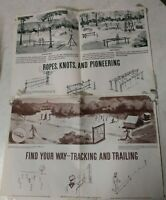 VTG BOY SCOUTS OF AMERICA 1964 INSTRUCTION POSTERS WOOD TOOL ROPE KNOT TRACK BSA