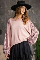 Easel Mixed Print Cotton Slub Knit Long Sleeve Tunic Top