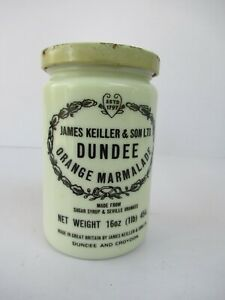 "Vintage Dundee Orange Marmalade Jar James Keiller & Sons Ltd Dundee Croydon ""F4"