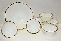 Vintage Milk Glass Gold Trim Scalloped Edge Star Salad Bowl Serving Set 7 Piece