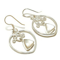 Mother of Pearl Triangle Gemstone Silver Overlay Handmade Bezel Set MOP Earrings