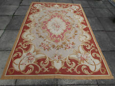 """Old Hand Made French Design  original Aubusson Wool Greens 256X173cm 8'6""""x5'9"""""""