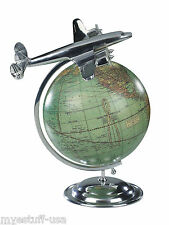 Authentic Models AP108 Desk Globe with Airplane On Top Of The World Travel Globe
