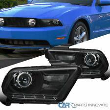 Ford 10-14 Mustang Retrofit Black Projector Headlights Head Lights Lamps Pair