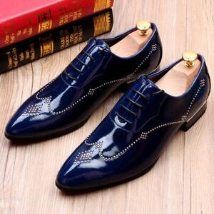 Patent Leather Pointy Toe Mens Heels Lace Up Wedding Party Dress Formal Shoes US