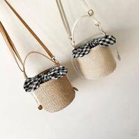 Women Beach Straw Rattan Woven Bowknot Shoulder Bag Hobo Messenger Handbag Purse