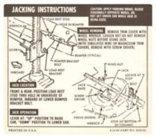 CHEVROLET 1967 & 1968 Camaro Convertible Car Jacking Instructions Decal #3909135