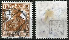 DR 100 a, O, 15 Pf. Germania hellgelbbraun, gepr. Infla