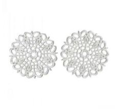 "10 Silver ROUND FLOWER FILIGREE WRAPS 1"" (55mm) (40081)"