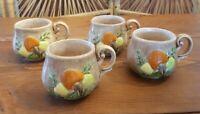 4- Vintage Mushroom Mugs 10 oz 1970s Cottagecore Grannychic Arnels Hobbyist