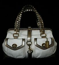NEW COACH CELEBRITY CANVAS GOLD METALLIC LEATHER DAPHNE LG DOCTOR SATCHEL TOTE