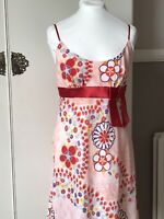 Mathew Williamson Butterfly Dress Size 10 Short Pink Beach Holiday Silky Red