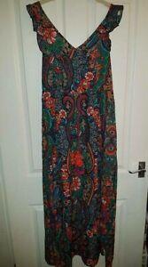 NEXT Beachwear BRAND NEW floral green sleeveless dress adjustable waist 14 UK