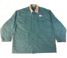 i/d Brand Mens Jacket - H.W.Lay Logo Antique Car Green Leather Collar Lined - XL