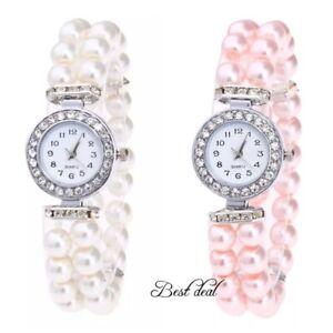 Ladies Womens Watches New Quartz Analogue Fashion Pearl Wrist Watch UK Fashion