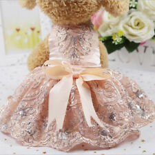 EE_ PUPPY PET DOG LUXURY PRINCESS FORAL EMBROIDERY LACE WEDDING DRESS CLOTHES ST