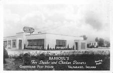 RPPC BARBOUL'S Steak Dinners Valparaiso, IN Roadside ca 1940s Vintage Postcard