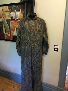 Vintage Mossy Oak Coveralls USA Made XL size, Camo 100% cotton Talon Zipper