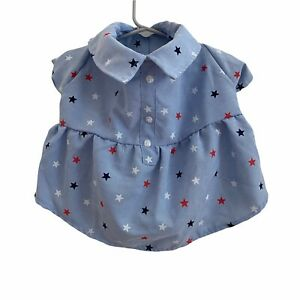Top Paw Dog Dress Size Medium Red Blue White Stars 4th of July NWT Collared