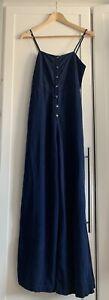 Zara Rustic Blue Linen Mix Wide Leg Button Down Jumpsuit- Size Medium 10