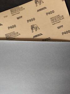 MIRKA WPF SANDING SHEETS PAPER SANDPAPER  GRIT P400 230mm x 280mm  FREE p&p