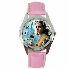 BEAUTY AND THE BEAST PINK LEATHER DVD FILM MOVIE GIRL FAIRY TALE STEEL WATCH
