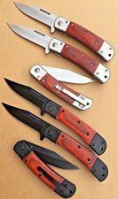 Wholesale Lot 6 - Spring Assisted Tactical Wood Handle Folding Pocket Knife
