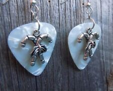 Crossed Candy Cane Charm Guitar Pick Earrings with Surgical Steel Earwires
