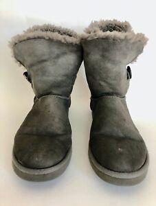UGG Bailey Button Ankle BOOTS Women's 10 GRAY Shearling Sheepskin 5803