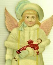 "1870's 12 3/4"" Giant Winged Girl Christmas Angel Doll Victorian Decoration &&"