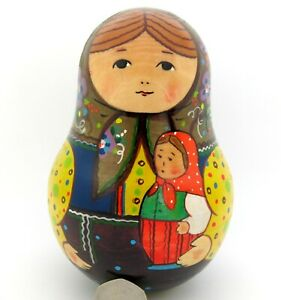 Russian Wobbly doll Bell Ring RYABOVA TRADITIONAL ROLY POLY GIRL MATRYOSHKA ART