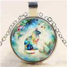 Garden cat And Bird Cabochon Glass Tibet Silver Chain Pendant Necklace