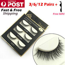 12 Pairs Soft Natural Cross Thick Long False Fake Eyelashes Extension Eye Lashes