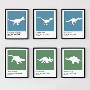 Dinosaur Prints Set Childrens Boys Bedroom Wall Art Poster Nursery Decor