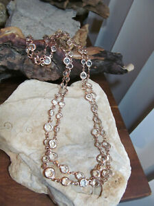 Rose Gold Tone Clear White Linked Two sizes Bezel Crystals Long Necklace 25g