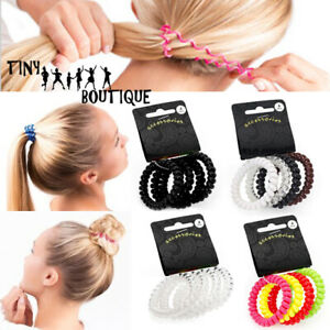 4pcs Spiral Girls Hair Bobble Band Rope Elastic Rubber Tie Slinky Coil Ponytail