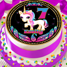 UNICORN COLOURFUL HAPPY BIRTHDAY PERSONALISED 7.5 INCH EDIBLE CAKE TOPPER B-103G