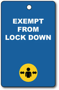 Exemption Cards and Lanyards - Exempt from Lockdown