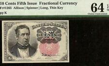 10 CENT FRACTIONAL NOTE SERIES 1874 CURRENCY PAPER MONEY LONG KEY Fr 1265 PMG 64