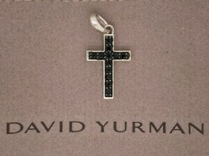 David Yurman Small Cross with Pave Black Diamonds Pendant, 22mm
